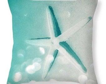 Decorative Turquoise Sand Starfish Throw Pillows, Designer Cushion,Blue Green Nautical Accent Pillow,Home Interior,Nautical Bedroom Decor