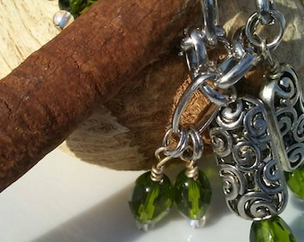 Silver charm chain linked bracelet