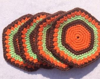 4 Crocheted Retro Doilies Vintage Coasters Vintage Orange Brown Coasters Crocheted Coasters Fabric Coasters