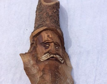 Vintage Wood Carved Forest Gnome Wood Carving Wood Cutting Hand Made Old Santa Wood Carving