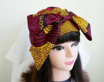 Yellow and Red Arrow Ankara Jiffy Head Wrap, African Wax Headtie, Stylish Hair Accessory
