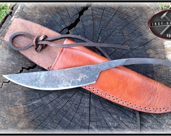 Hand Forged Camp Trade Knife with Custom Leather Sheath