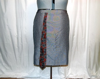 2X 3X plus size gray pencil skirt men's tie boho trendy office career restyled refashioned altered upcycled shabby chic