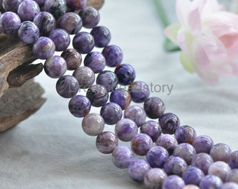 Natural Rare Charoite Beads, Round 6 8 10 12mm Healing Purple Gemstone Beads (JY139)