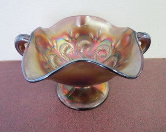 Beautiful Vintage Carnival Glass Compote