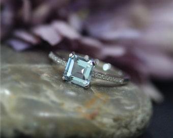 March Birthstone Princess Cut VS 7mm Aquamarine Ring White Gold Ring solid 14K Diamond Wedding Ring Promise Ring Engagement Ring