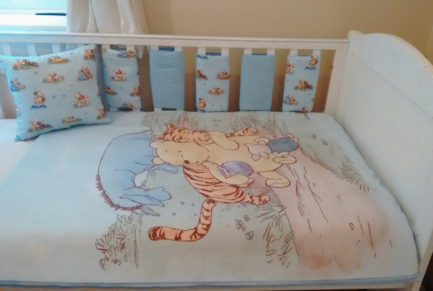 Winnie The Pooh Blue Baby Bedding Quilt Bumpers Cushion Set