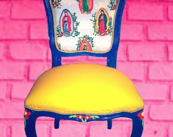 Louis XV accent Chair Lady of Guadalupe Fabric Handmade Painted Flower carved Gold trim mexican chair frida khalo inspiration amelierococo