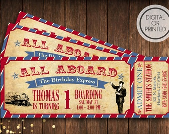 Vintage Train Birthday | Train Birthday Invitation | Vintage Train Ticket Invite | Boy Birthday Invitation | Train Party