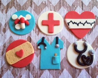 12 Fondant nurse doctor theme cupcake toppers