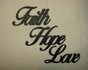 Faith Hope Love Metal Wall Word Set