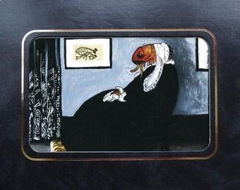 Art print, Whistler's Mother, insect art, flea, surreal art, framed print