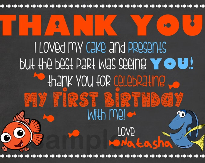 Finding Nemo Invite Thank You / Finding Nemo Birthday Thank You / Finding Nemo Chalkboard Birthday Thank You / Fish Birthday Thank You