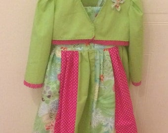 Handmade girls dress with matching Bolero.