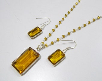 Sterling Silver Pendant Set with Yellow citrin quartz Rosary chain/ rectangle Shape Stone / Size21x42mm including Bail /Hydro quartz Jewelry