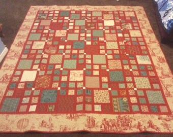 French General Red Sofa Quilt