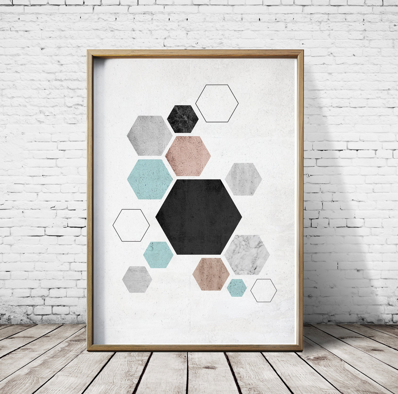 Wall art prints living room nordic style hexagon wall art for Wall poster for living room