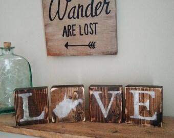 Rustic West Virginia Blocks, REVERSIBLE, Love West Virginia, West Virginia Home, West Virginia Sign, West Virginia Decor, WV Decor, 3.5x14