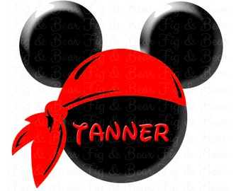 Disney Personalized Mickey Mouse Pirate Iron On T Shirt Transfer