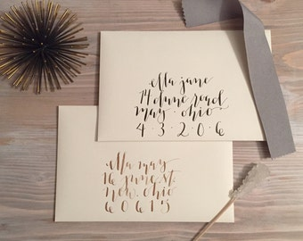Handwritten, Modern Calligraphy Envelope Addressing for a Wedding or Event in White and, Watercolors, and Colors