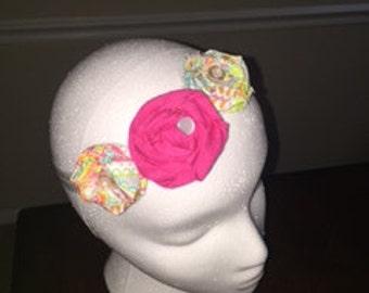 Pink Elastic Headband with rhinestone center