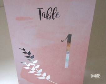Wedding Table Number Cards - Peach Watercolour and Silver print