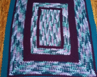 Afghan, throw, lap blanket ~ crocheted in purple, burgundy, teal, green, blue ~ shabby chic, country home decor accessory