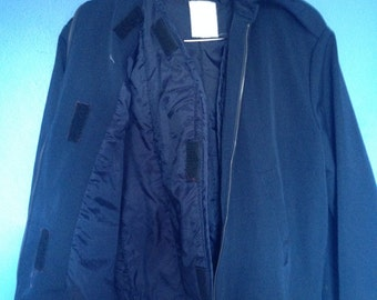 Men's Vintage Fall-Winter 1960's Medium to Large navy blue jacket with removable vest for extra warmth