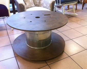 Cable reel coffee table, steel and rivets and lights!