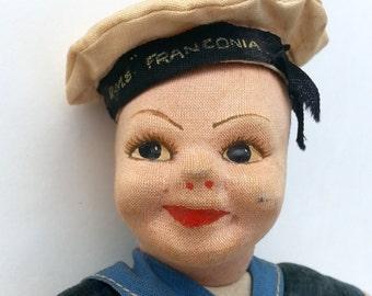 Cloth Doll, Norah Wellings, Sailor Doll, 1940s, Cruise Ship Souvenir, RMS Franconia, England, Cunard Line, Navy, Nautical Collectible