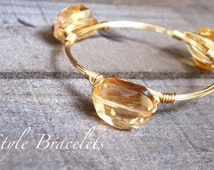 Wire Wrapped Bracelet | Amber Glass Luster Bean Bead Wire Bracelet | Wire Bracelet | Wire Bangle | Wire Wrapped Bangle | Bean Beads 1224