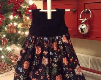 Black velvet/floral Jumper Size 2T