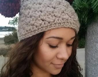 Teen/Womens/Square Pompom Hat/Fun Hat/Tan/Burgundy/Crochet/Winter/Christmas/Holiday