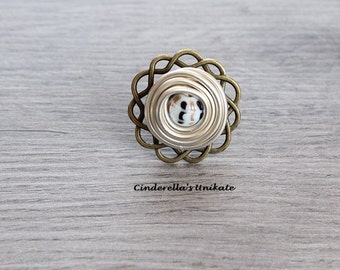 One of a kind ring in a vintage style with aluminium and glass bead size adjustable