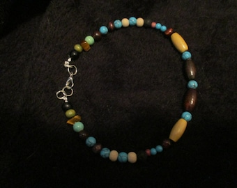 Turquoise and Wood Boho Style Anklet