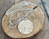 Mountain Necklace, Etched and Hand Stamped Mountain, Pine Tree and Sun Necklace