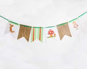 Banner Little Red Riding Hood ,  Little Red Riding Hood Bunting,  Little Red Riding Hood Party Decor, Red Riding Hood Birthday.