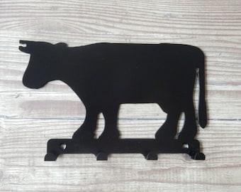 Cow Silhouette Key Hook Rack - metal wall art