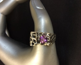 Vintage Amethyst Sterling Silver Ring Size 11