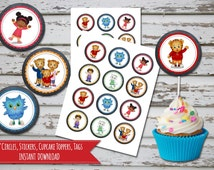 Daniel Tiger Cupcake Toppers Chalkboard  Daniel Tiger Birthday  Daniel Tiger Cake Topper  Daniel Tiger Favor Tags INSTANT DOWNLOAD