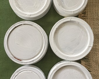 """6pc vintage shabby style white chalkpainted """"mason"""" type jar lids for your DIY project"""