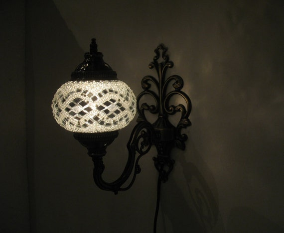 white mosaic glass sconce lamp wall lamp lampe by meryemart. Black Bedroom Furniture Sets. Home Design Ideas