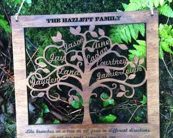Large Personalised Family Tree Wall Art Engraved family names wooden gift Personalized Wedding Anniversary Birthday Present