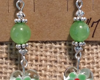 Heart Shaped Millefiori Glass Beaded Dangle Fish Hook Earrings - Green