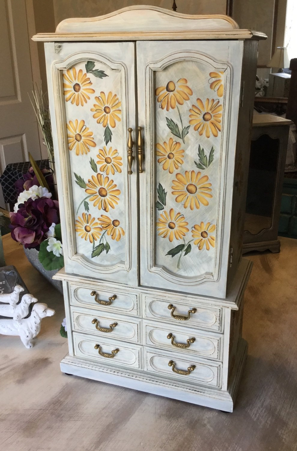 vintage shabby chic jewelry armoire upcycled wooden painted. Black Bedroom Furniture Sets. Home Design Ideas
