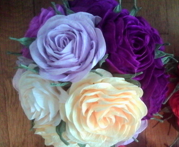 Kissing ball crepe paper flowers ball purple lavender plum like this item mightylinksfo Image collections