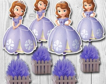 Sofia the First Centerpiece, Sofia the First Cake Topper, Double-Sided, 2 Sizes, DIGITAL FILE, You Print