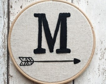 "Monochrome Letter Embroidery Hoop. Letter With Tribal Arrow Design. Monochrome Nursery, 5, 6 or 7"" Hoop!"