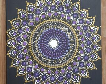 Mandala wall art/mandala painting/bohemian/dot work/ dotillism/painting/16x20/ meditation/ yoga/spiritual/flower/purple/gold Kaylabreen2016©