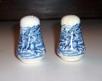 Vintage Staffordshire Liberty Blue China, Salt and Pepper Shakers